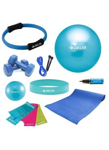 Delta Aerobik Bantlı Pts Turkuaz Full Pilates Seti (55Cm - 20Cm) Renkli